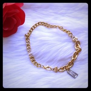 Coach Two Tone Chain Link Hangtag Bracelet New